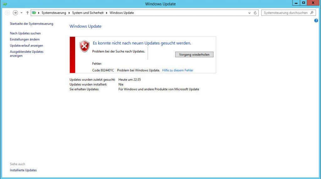 Microsoft Windows Update Fehler: 8024401C