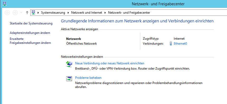 netzwerk und freigabecenter